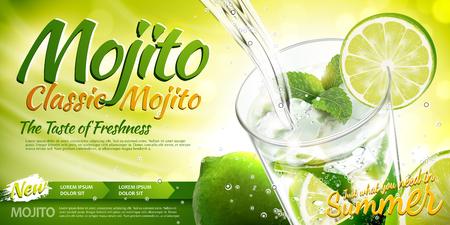 Annunci rinfrescanti di mojito con bevanda che si versa in una tazza di vetro, elementi di lime e menta in illustrazione 3d