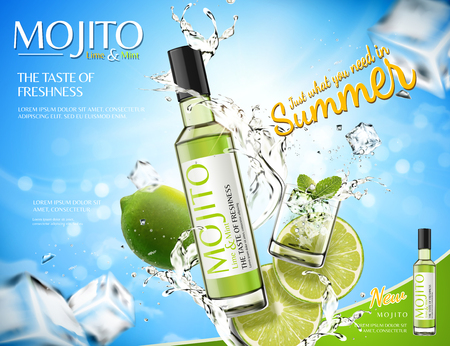 Refreshing mojito ads with splashing liquid and lime, ice cubes elements in 3d illustration, bokeh blue background