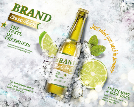 Refreshing mojito ads with a bottle of beverage laying on crushed ice background in 3d illustration Illustration