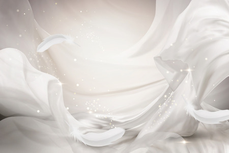 Pearl white chiffon design flying with feathers, 3d illustration Illusztráció