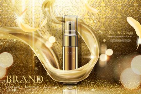 Spray per la cura della pelle dorato di lusso con chiffon intrecciato in illustrazione 3d, sfondo curvo Vettoriali