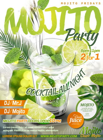 Refreshing mojito party poster with beverage pouring into a glass cup, lime, mint and tropical leaves in 3d illustration