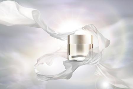 Barattolo di crema bianco perla vuoto con chiffon volante su illustrazione 3d Vettoriali