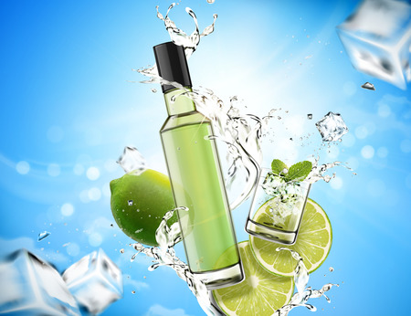 Refreshing mojito design element with splashing liquid and lime, ice cubes in 3d illustration, bokeh blue background