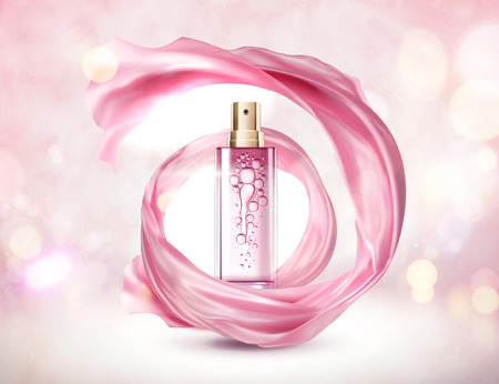 Cosmetic pink spray bottle with swirling chiffon on sparkling background 矢量图像