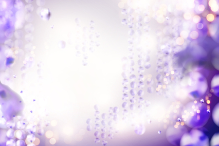 Bokeh glittering purple beads background in 3d illustration