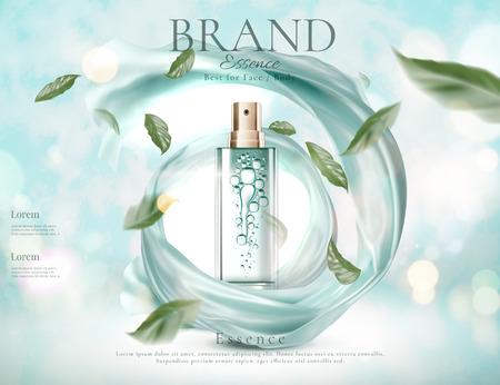 Spray de soin de la peau rafraîchissant avec des feuilles vertes volantes et du satin tourbillonnant en illustration 3d sur fond de paillettes bleu clair Vecteurs