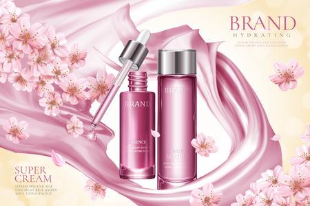 Werbung für Sakura-Hautpflegeprodukte mit rosafarbenem glattem Satin und floralen Elementen in 3D-Illustration