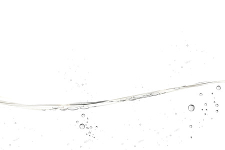 Water transparent surface with bubbles on white background in 3d illustration Ilustração