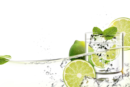 Cup of mijito with lime and mints flowing in transparent liquid in 3d illustration Vectores