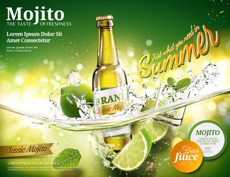 Erfrischende Mojito-Anzeigen mit einer Flasche Getränk, die in eine transparente Flüssigkeit in 3D-Darstellung fällt, grüner Bokeh-Hintergrund