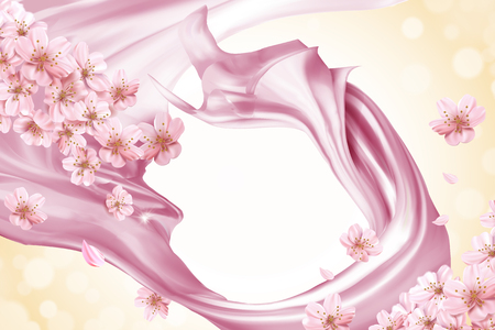 Pink smooth satin and floral background in 3d illustration