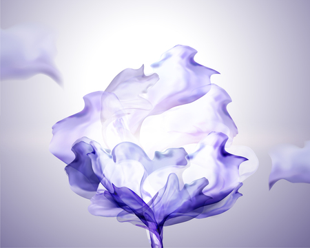 Purple chiffon design element flying in the air, 3d illustration