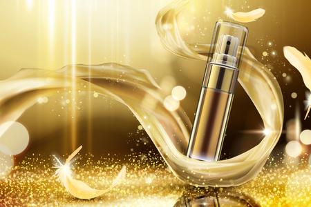 Golden skincare spray con intreccio di raso e piume su sfondo luccicante, 3d'illustrazione Vettoriali