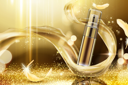 Golden skincare spray with weaving satin and feathers on shimmering background, 3d illustration Illustration