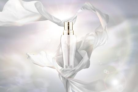 Mousseline blanche perle et flacon pulvérisateur en illustration 3d sur fond lumineux Vecteurs
