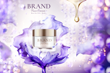 Luxury face cream jar ads with flying purple chiffon effect on shimmering bokeh background, 3d illustration Ilustracja