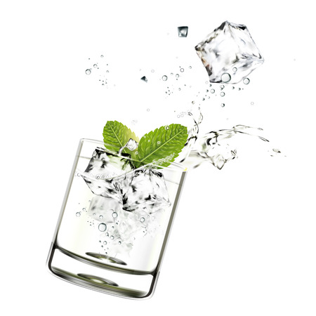 Cup of mojito with ice cube and mints in 3d illustration on white background