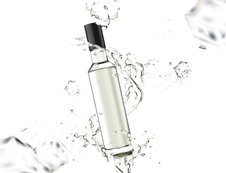 Glass bottle with liquid swirling around it on white background in 3d illustration