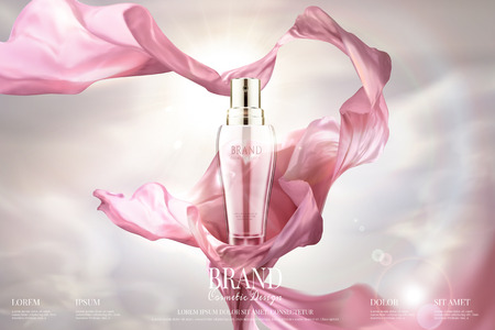 Skincare advertising with waving chiffon and spray essence in 3d illustration