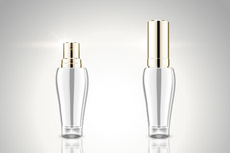 Blank silver spray bottle mockup in 3d illustration