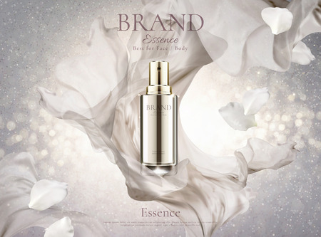 Skincare spray with pearl white chiffon and petals in 3d illustration on shimmering background