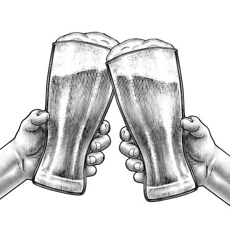Hands holding beer glasses and cheering with each other in engraved style