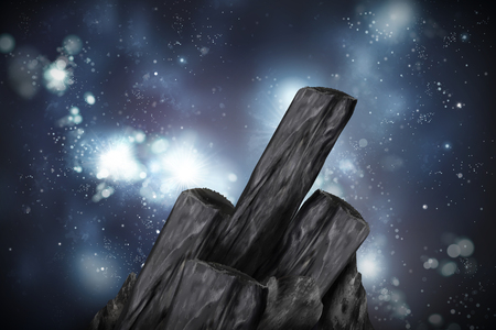 Bamboo charcoal elements on glittering universe background in 3d illustration Ilustração