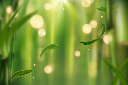 Tranquil bamboo forest background with flying leaves and glittering lights in 3d illustration