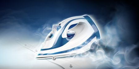 Ironing a white shirt with steam in 3d illustration 일러스트