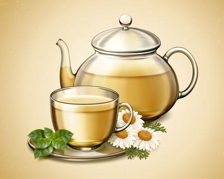 Tè ai fiori di camomilla in teiera di vetro, illustrazione 3d Vettoriali
