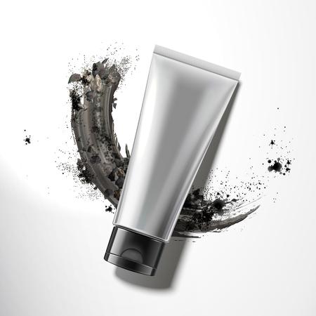 Tube en plastique blanc avec de la poudre de charbon de bois en illustration 3d, vue du dessus