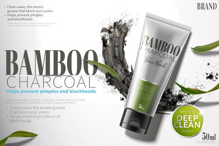 Annunci di lavaggio del viso al carbone di bambù con polvere di carbone sbavato nell'illustrazione 3d