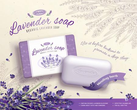 Anuncios de jabón de lavanda con ingredientes de flores florecientes en la ilustración 3d, fondo floral grabado