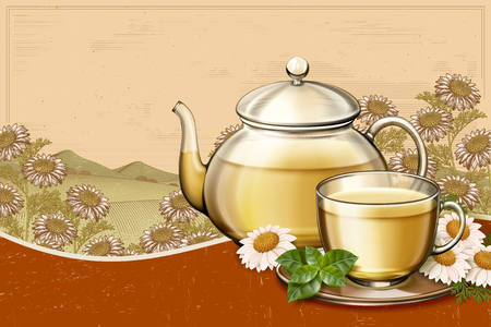 Organic chamomile tea ads with glass teapot set on retro engraving floral fields in 3d illustration, copy space for design uses