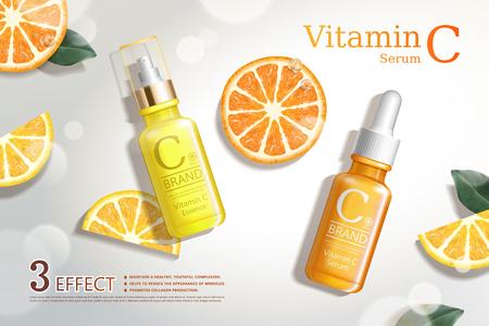 Annunci di siero di vitamina C con rinfrescanti sezioni di agrumi e bottiglia di goccioline nell'illustrazione 3d, vista dall'alto