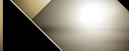 Fondo geométrico negro abstracto con línea dorada y marco Ilustración de vector