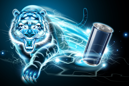 Blank aluminum can and lightning vicious tiger effect in 3d illustration