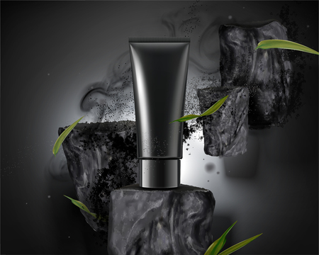 Blank plastic tube with bamboo charcoal elements with ashes in 3d illustration