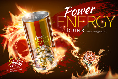 Power energy drink ads with flame tiger effect in 3d illustration