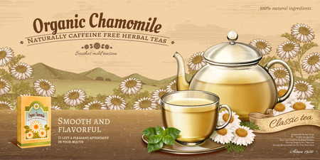 Organic chamomile tea ads with glass teapot set on wooden table and retro engraving floral fields in 3d illustration Ilustrace
