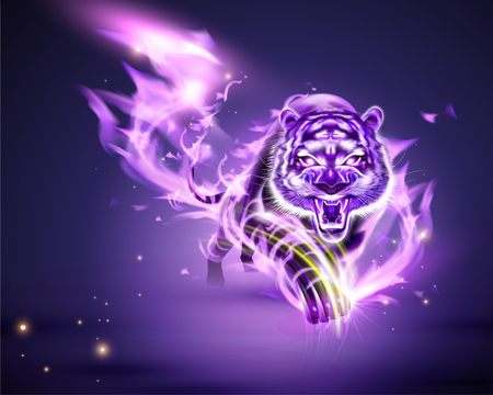 Vicious tiger with purple burning flame in 3d illustration Stock Illustratie