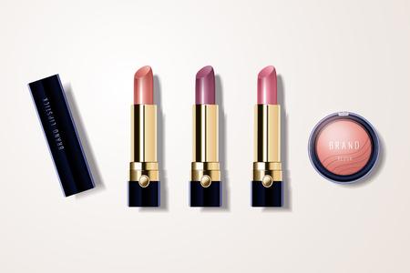 Maqueta de maquillaje con lápiz labial y rubor en ilustración 3d