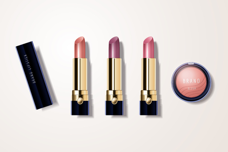 Make up mockup set with lipstick and blush in 3d illustration