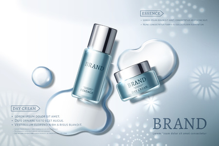 Skin care ads with blue containers on elegant background in 3d illustration, water dew and snowflakes elements Vettoriali