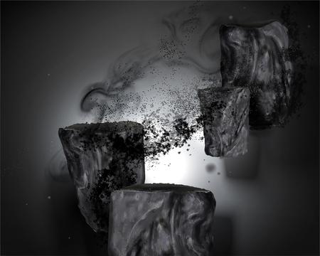 Éléments de charbon de bambou avec des cendres en illustration 3d