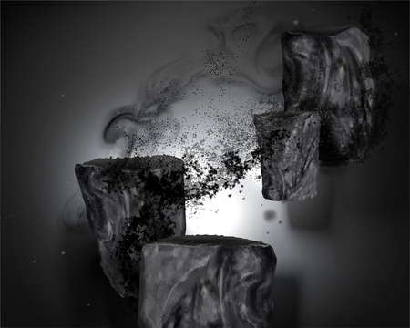 Bamboo charcoal elements with ashes in 3d illustration