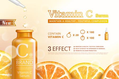 Vitamin C-Serumanzeigen mit erfrischenden Zitrusschnitten und Tröpfchenflasche in der 3D-Illustration auf glitzerndem Hintergrund
