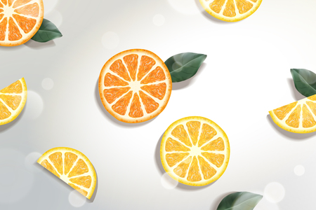 Refreshing citrus background with green leaves in 3d illustration