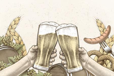 Oktoberfest viering ontwerp in gegraveerde stijl, handen met bierglazen en juichen op achtergrond gevuld met ingrediënten Vector Illustratie